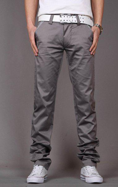 Fashion Style Zipper Fly Solid Color Slimming Houndstooth Embellished Pocket Narrow Feet Men's Cotton Pants - GRAY 34