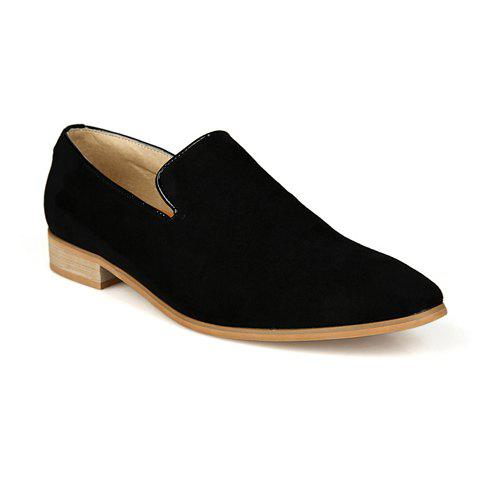Laconic Suede and Round Toe Design Men's Formal Shoes - BLACK 44