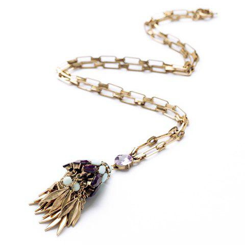 Delicate Candy Color Rhinestone Decorated Tassels Pendant Necklace For Women - COLOR ASSORTED
