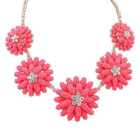 Double Layer Flower Decorated Faux Gem Pendant Necklace - ROSE MADDER