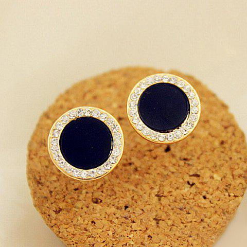 Pair of Exquisite Diamante Round Stud Earrings For Women - AS THE PICTURE