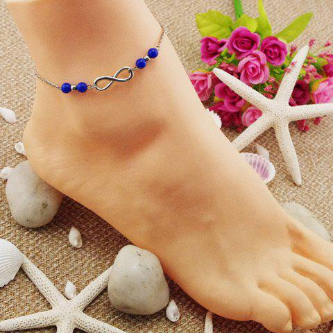 Beads Hollowed Infinity Anklet - SAPPHIRE BLUE