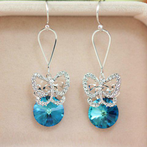 Pair of Exquisite Faux Crystal Embellished Openwork Butterfly Pattern Pendant Earrings For Women - BLUE