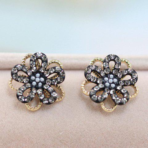 Pair of Exquisite Faux Pearl Decorated Diamante Flower Pattern Stud Earrings For Women -  BLACK