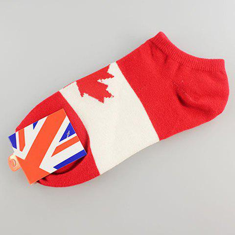 Cotton Maple Leaf  Flag Pattern Socks - AS THE PICTURE