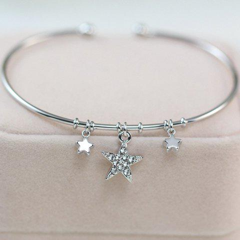 Fashion Diamante Star Pendant Cuff Bracelet For Women - SILVER