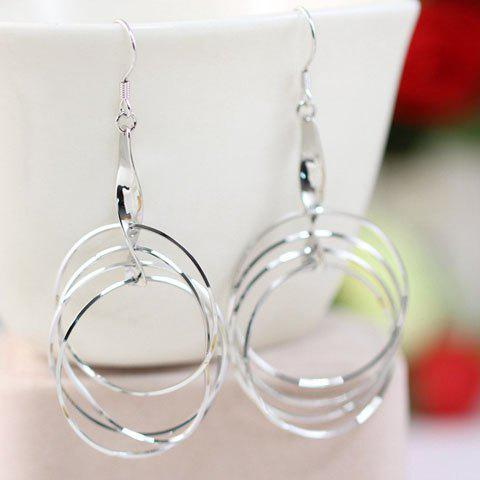 Loopy Hoop Dangle Hook Earrings - SILVER