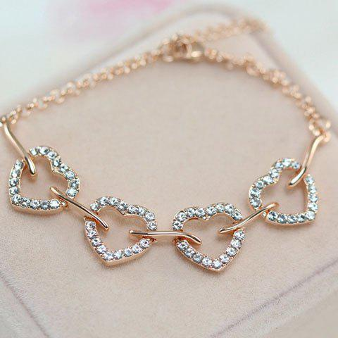 Fashion Diamante Openwork Heart Shape Pendant Bracelet For Women - GOLDEN