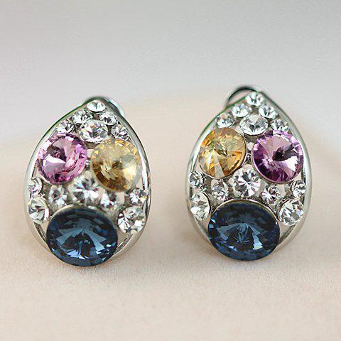 Pair of Exquisite Colorful Faux Crystal Decorated Water Drop Shape Stud Earrings For Women