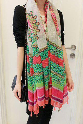 Chic Stylish Flower Pattern Tassel Embellished Scarf For Women - GREEN