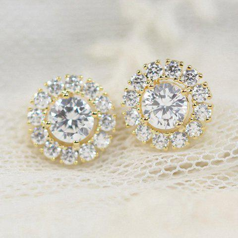 Pair of Exquisite Diamante Round Stud Earrings For Women - COLOR ASSORTED