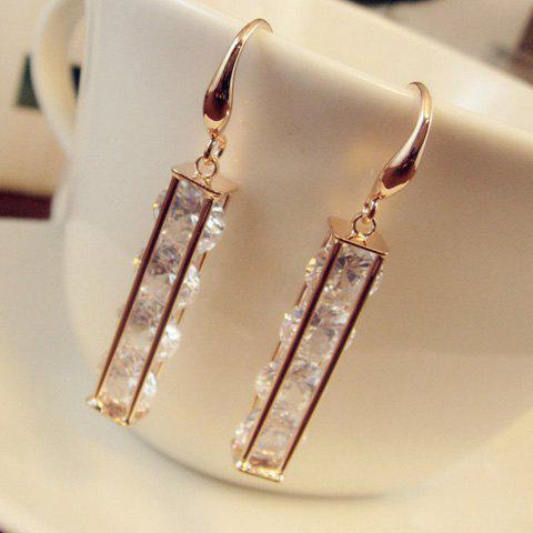 Pair of Faux Crystal Decorated Openwork Cuboid Pendant Earrings - ROSE GOLD