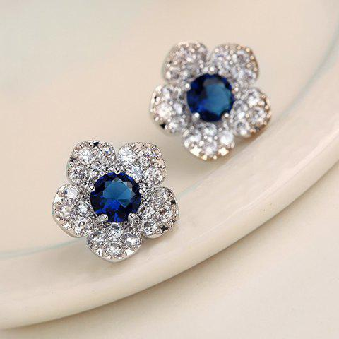 Pair of Faux Crystal Flower Pattern Diamante Earrings - AS THE PICTURE