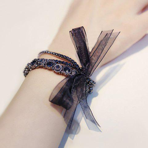 Vintage Faux Crystal Decorated Multi-Layered Lace Bowknot Embellished Bracelet For Women