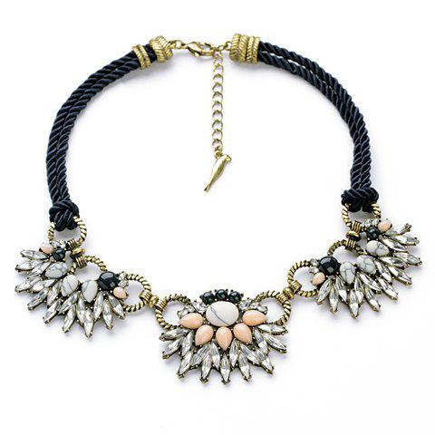 Delicate Multi-Color Rhinestone Decorated Special Design Pendant Necklace For Women - AS THE PICTURE