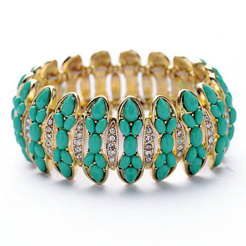 Vintage Candy Color Faux Gem Decorated Diamante Cuff Bracelet For Women - AS THE PICTURE