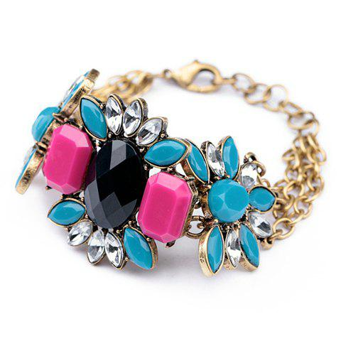 Exquisite Candy Color Rhinestone Embellished Flower Pattern Multi-Layered Bracelet For Women