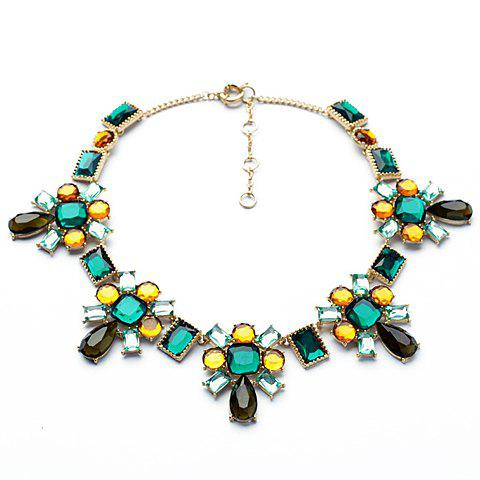 Delicate Multi-Color Geometric Faux Gem Decorated Floral Pendant Necklace For Women - AS THE PICTURE