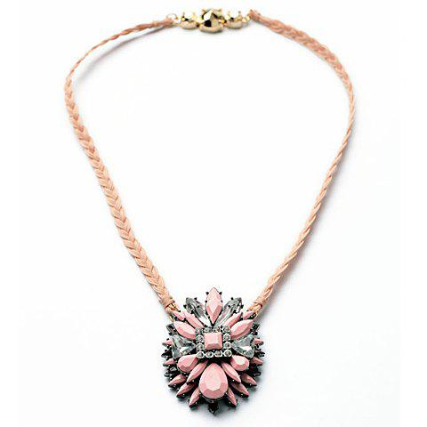Delicate Multi-Color Geometric Faux Gem Decorated Floral Pendant Knitted Necklace For Women - PINK