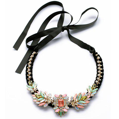 Retro Colorful Rhinestone Decorated Floral Pendant Ribbon Necklace For Women