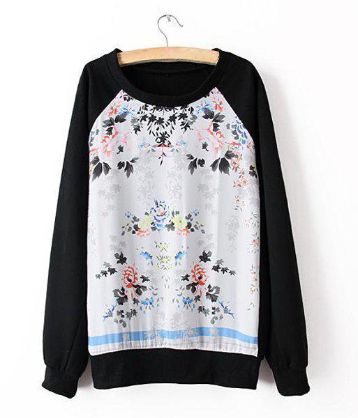 Floral Print Splicing Casual Style Scoop Neck Long Sleeve Women's Sweatshirt - BLACK M