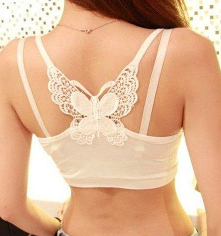 Charming Butterfly Pattern Spaghetti Strap Women's Crop Top - WHITE ONE SIZE
