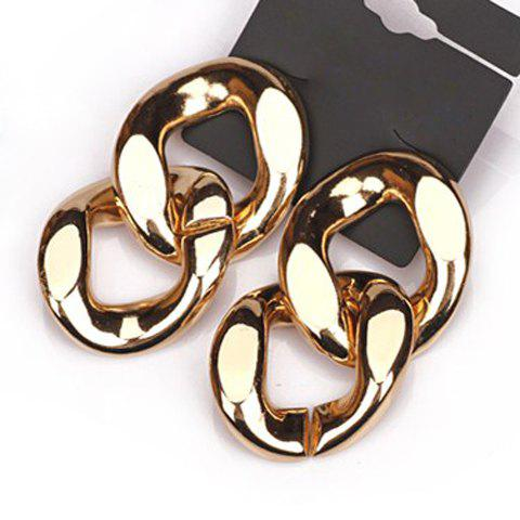 Pair of Punk Double-Layer Ring Pendant Earrings For Women - AS THE PICTURE