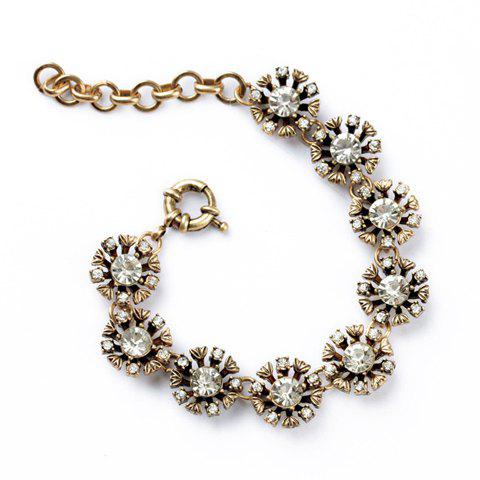 Fashion Diamante Openwork Floral Bracelet For Women - AS THE PICTURE