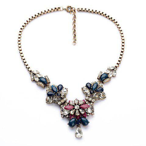 Delicate Colorful Faux Gem Embellished Floral Pendant Necklace For Women - AS THE PICTURE