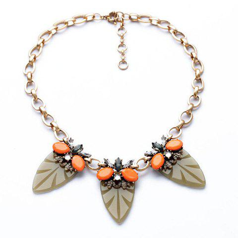 Delicate Diamante Colorful Leaf Pattern Pendant Necklace For Women