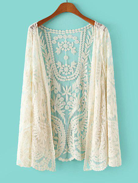 Lace Crochet Flower See-Through Long Sleeve Stylish Women's Blouse - OFF WHITE ONE SIZE