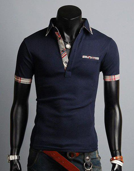 Fashion Style Turn-down Collar Slimming Color Block Splicing Simple Design Short Sleeves Men's Polyester Polo Shirt - CADETBLUE M