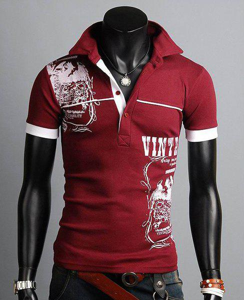 Stylish Turn-down Collar Slimming Personality Totem Print Solid Color Short Sleeves Men's Polyester Polo Shirt - WINE RED 2XL