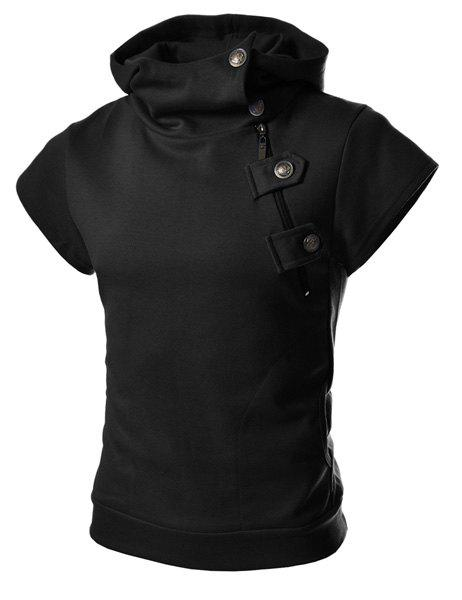 Fashion Style Solid Color Slimming Button and Zipper Personality Embellished Short Sleeves Men's Cotton Blend Hoodies - BLACK M