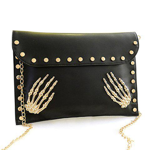 Punk Rivets and Chain Design Clutch For Women - BLACK