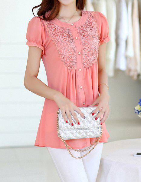 Stylish Jewel Neck Puff Sleeve Lace Embellished Chiffon Blouse For Women - PINK 2XL