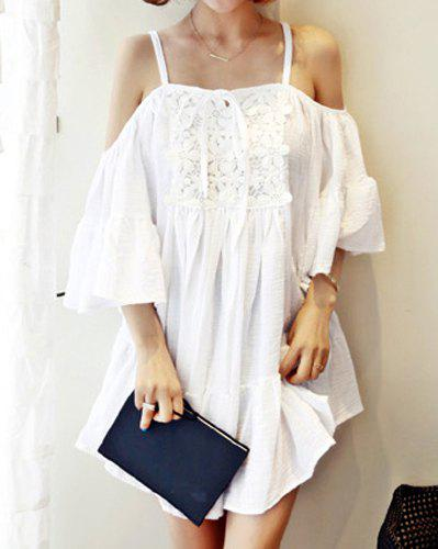 Sweet Spaghetti Strap Off-The-Shoulder Solid Color Spliced Women's Dress - WHITE ONE SIZE