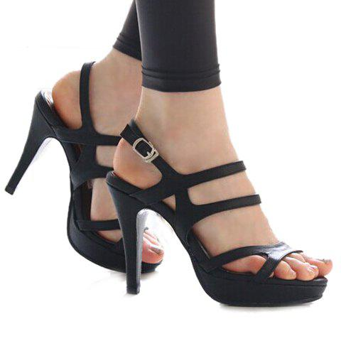Party Stiletto and Solid Color Design Sandals For Women - 37 BLACK