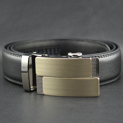 Smooth Buckle Design Pure Color Belt - BLACK