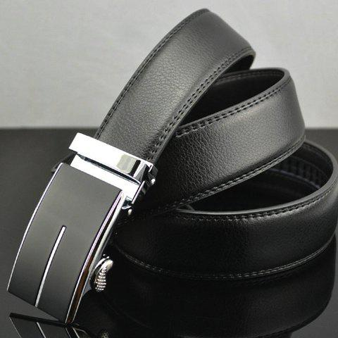 Solid Color Faux Leather Automatic Buckle Belt - BLACK