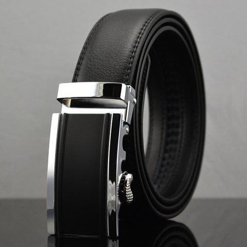 Automatic Buckle Solid Color Faux Leather Belt