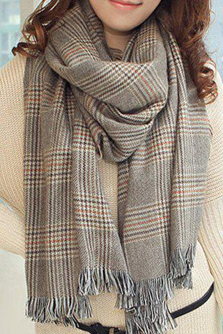 Stylish Chic Plaid Tassel Decorated Scarf For Women - LIGHT GRAY