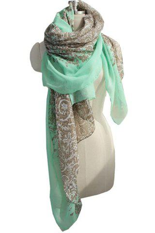 Bohemia Fashion Flower Paint Decorated Scarf For Women - GREEN
