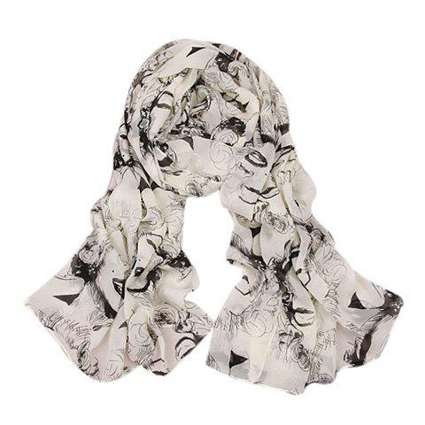Stylish Chic Figure Pattern Embellished Scarf For Women - WHITE