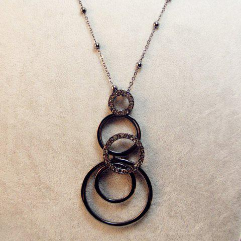 Diamante Circles Pendant Multilayered Sweater Chain - GUN METAL
