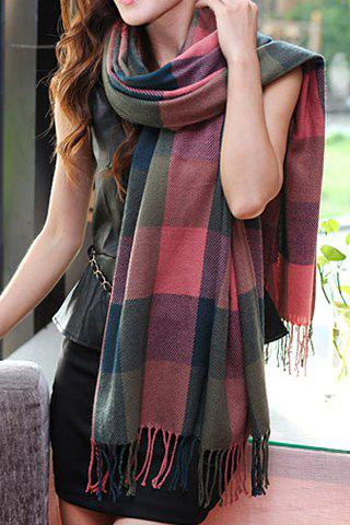 Ethnic Style Color Block Plaid Tassels Pashmina - PINK
