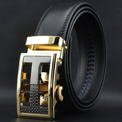 Fashion Casual Character Shape Buckle Black Color Waist Belt For Men - BLACK