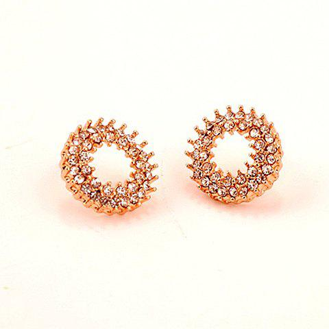 Pair of Brilliant Diamante Hollow Out Round Stud Earrings For Women - AS THE PICTURE