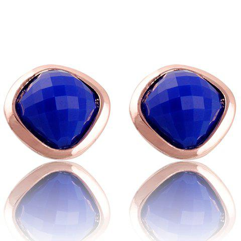 Pair of Brilliant Faux Gem Decorated Geometric Stud Earrings For Women - COLOR ASSORTED