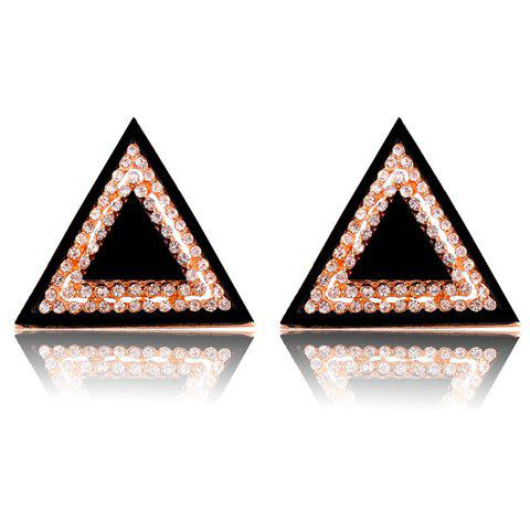 Pair of Brilliant Diamante Triangle Stud Earrings For Women -  COLOR ASSORTED